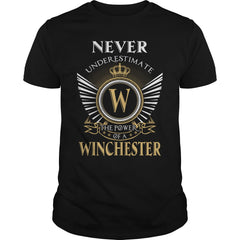 "Picture of black ""Never Underestimate A Winchester"" t-shirt for guys."