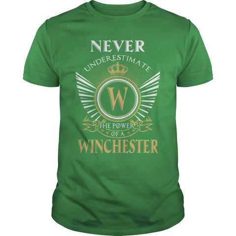 "Picture of green ""Never Underestimate A Winchester"" t-shirt for guys."