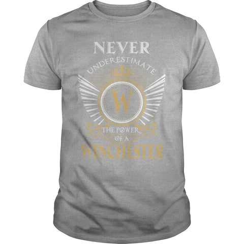 "Picture of gray ""Never Underestimate A Winchester"" t-shirt for guys."