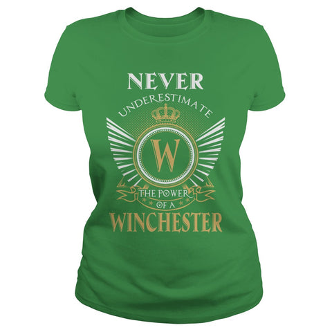 "Picture of green ""Never Underestimate A Winchester"" t-shirt for goddesses."