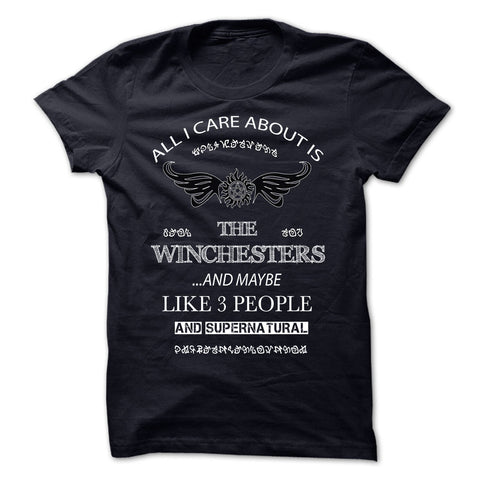 "Picture of black ""All I Care About Is The Winchesters"" t-shirt for guys."