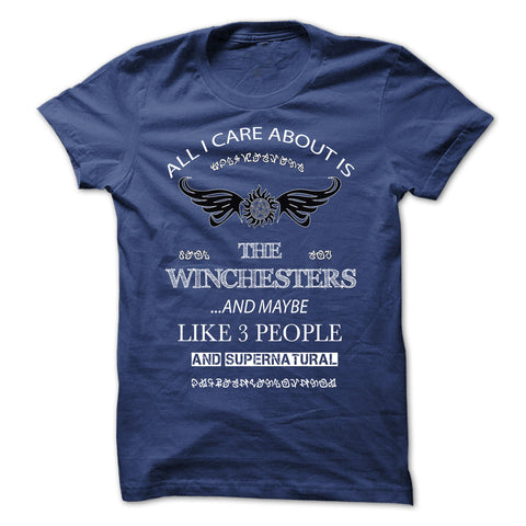 "Picture of royal blue ""All I Care About Is The Winchesters"" t-shirt for guys."