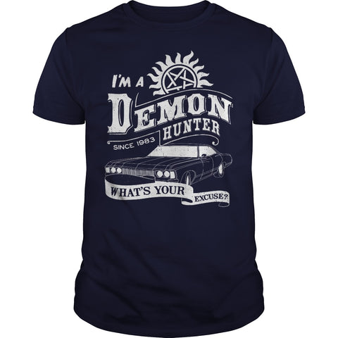 "Picture of navy blue ""I'm A Demon Hunter"" t-shirt for guys."