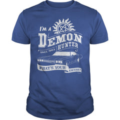 "Picture of royal blue ""I'm A Demon Hunter"" t-shirt for guys."