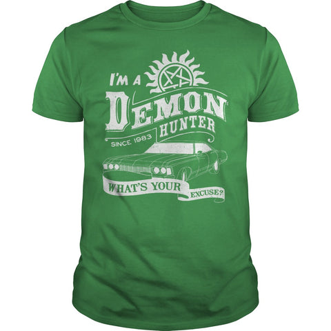 "Picture of green ""I'm A Demon Hunter"" t-shirt for guys."