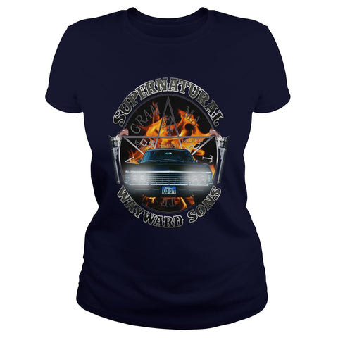 Picture of navy blue Supernatural Wayward Sons ladies t-shirt.