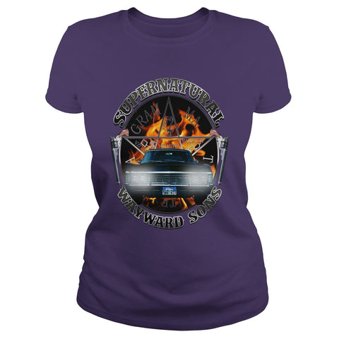 Picture of purple Supernatural Wayward Sons ladies t-shirt.