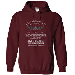 "Picture of maroon  ""All I Care About Is The Winchesters"" hoodie for men."