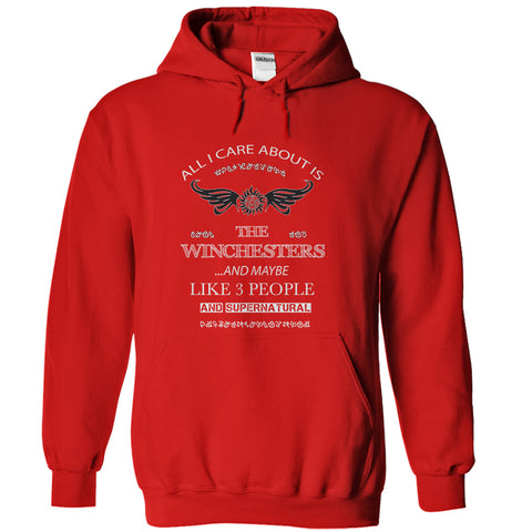 "Picture of red ""All I Care About Is The Winchesters"" hoodie for men."