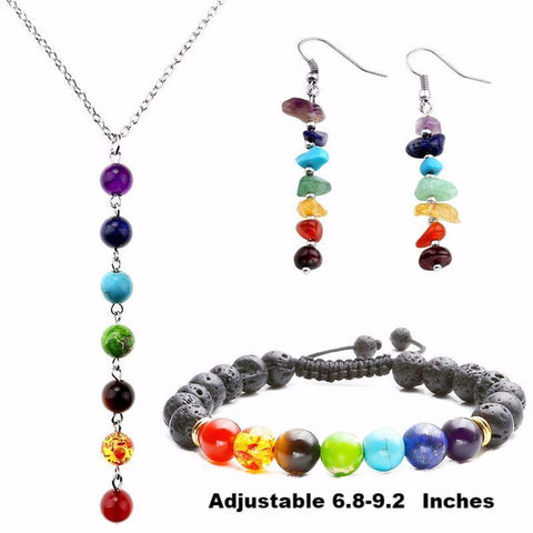 Picture of Style 3 chakra jewelry set.