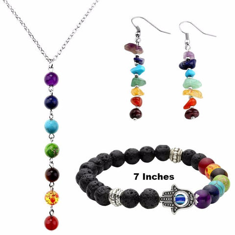 Picture of Style 4 chakra jewelry set.