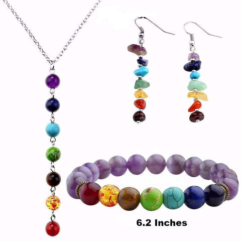 Picture of Style 6 chakra jewelry set.