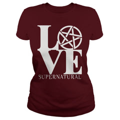 "Picture of maroon ""Love Supernatural"" t-shirt for goddesses."