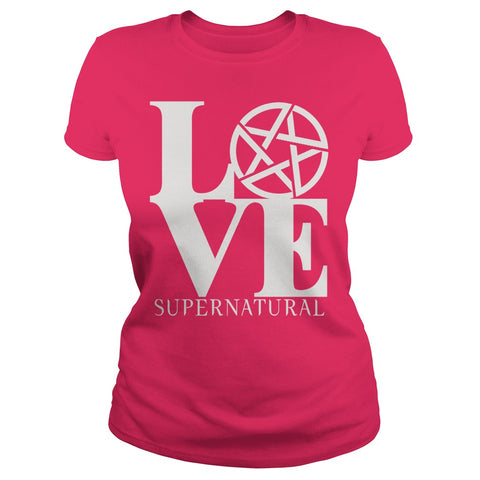 "Picture of hot pink ""Love Supernatural"" t-shirt for goddesses."