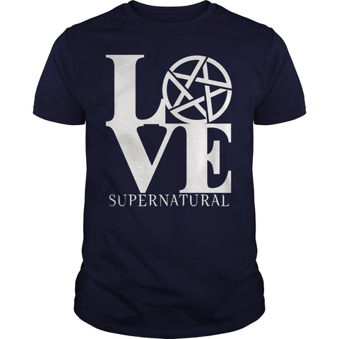 "Picture of navy blue ""Love Supernatural"" t-shirt for guys."