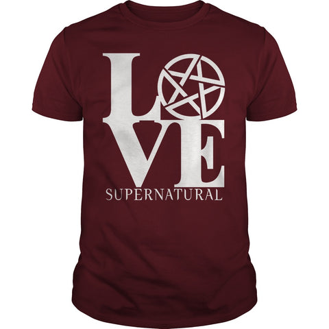 "Picture of maroon ""Love Supernatural"" t-shirt for guys."