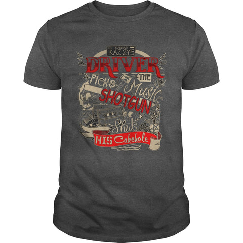 "Picture of dark gray ""Driver Picks The Music"" t-shirt for guys."