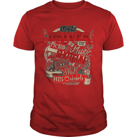"Picture of red ""Driver Picks The Music"" t-shirt for guys."