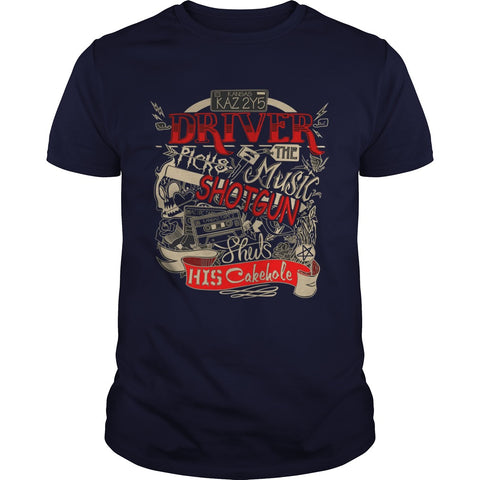 "Picture of navy blue ""Driver Picks The Music"" t-shirt for guys."