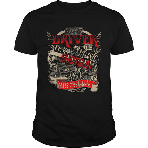 "Picture of black ""Driver Picks The Music"" t-shirt for guys."