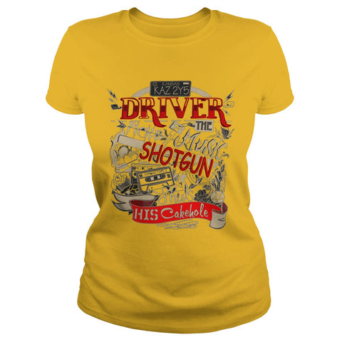 "Picture of yellow ""Driver Picks The Music"" t-shirt for goddesses."