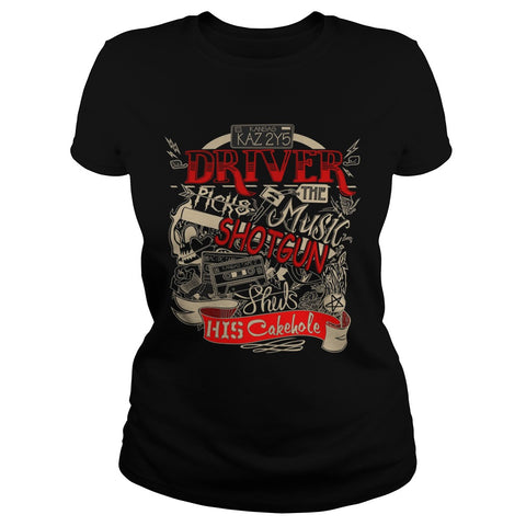 "Picture of black ""Driver Picks The Music"" t-shirt for goddesses."