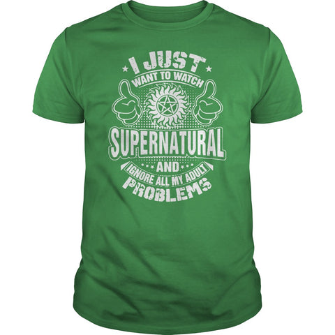 "Picture of green ""I Just Want To Watch Supernatural"" t-shirt for guys."