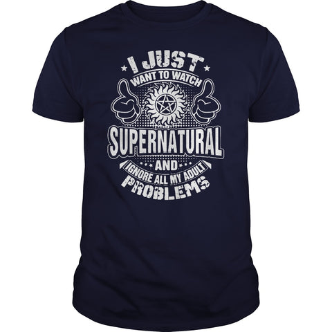 "Picture of navy blue ""I Just Want To Watch Supernatural"" t-shirt for guys."