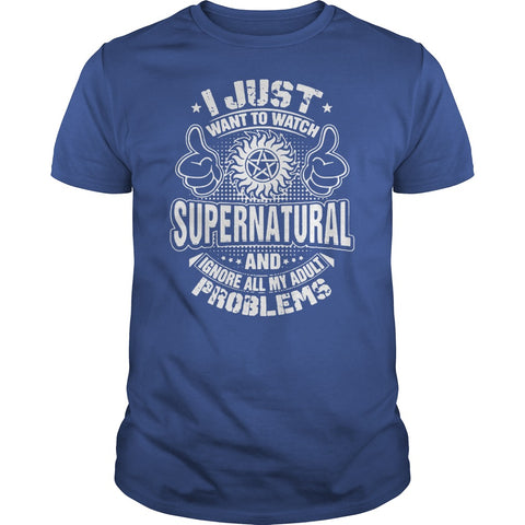 "Picture of royal blue ""I Just Want To Watch Supernatural"" t-shirt for guys."