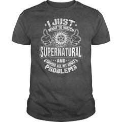"Picture of gray ""I Just Want To Watch Supernatural"" t-shirt for guys."