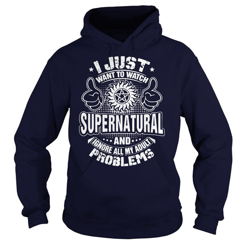"Picture of navy blue ""I Just Want To Watch Supernatural"" hoodie for guys."