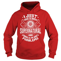 "Picture of red ""I Just Want To Watch Supernatural"" hoodie for guys."