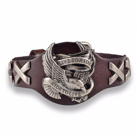 Brown Live To Ride, Ride To Live leather bracelet.