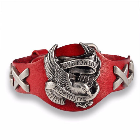 Red Live To Ride, Ride To Live leather bracelet.