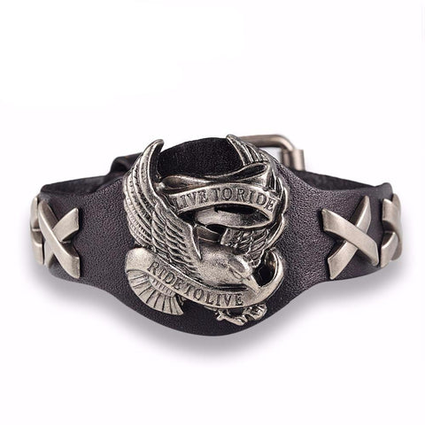 Black Live To Ride, Ride To Live leather bracelet.