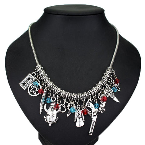 Supernatural Charm Necklace With Glass Beads