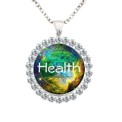 Glass dome Tree Of Life Necklace with rhinestones.