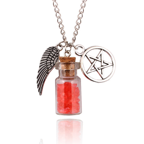 Supernatural Handmade Angel Wing, Pentagram, And Salt Bottle Protection Necklace - Available In 7 Colors