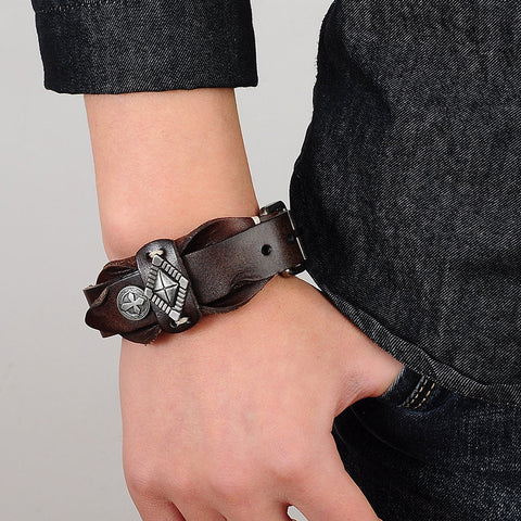 Picture of men's leather bracelet being worn.