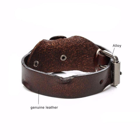 Picture of men's leather bracelet from the underside.