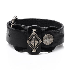 Picture of men's leather bracelet in black.