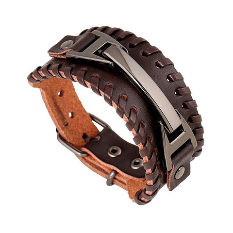 Picture of leather and metal men's bracelet top view.