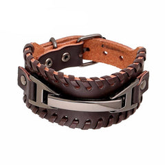 Picture of leather and metal men's bracelet.