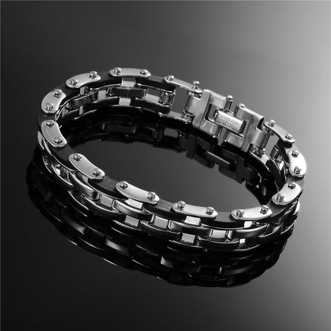 Picture of Motorcycle Chain bracelet against a dark background.
