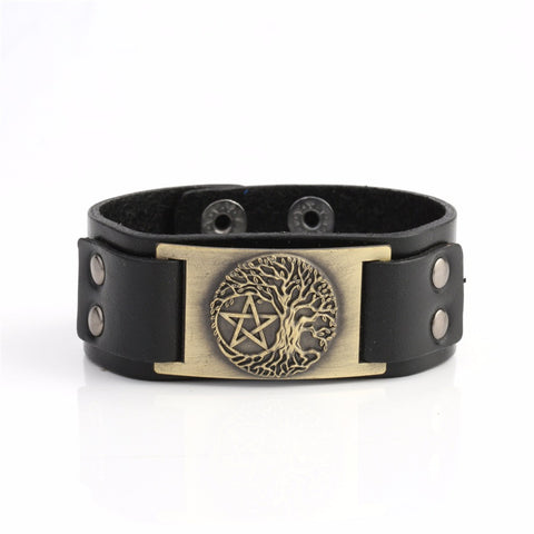 Picture of bronze Tree Of Life and Pentagram bracelet.