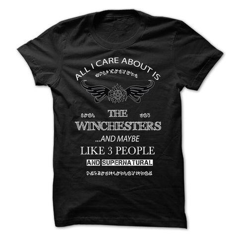 "Picture of navy blue ""All I Care About Is The Winchesters"" t-shirt for guys."