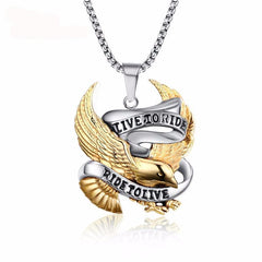 Picture of eagle Ride To Live necklace.