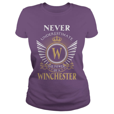 "Picture of purple ""Never Underestimate A Winchester"" t-shirt for goddesses."