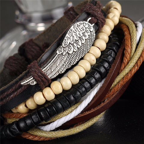Wing Bracelet With Beads, Leather and Rope - close-up view.