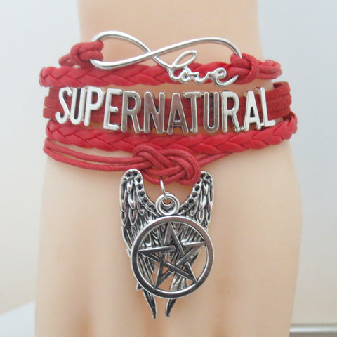 Picture of the red Supernatural bracelet.